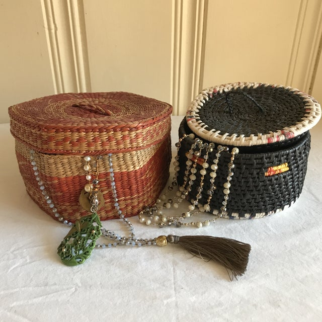 Natural Woven Boho Basket Boxes - A Pair - Image 6 of 10