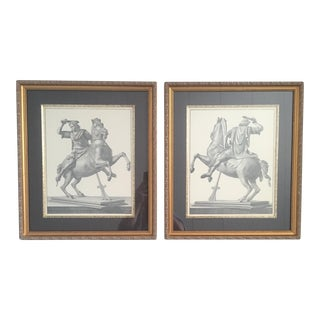 Large Mid Century Antique Framed Traditional Neoclassical Roman Greek Soldiers Equestrian Horse Lithographs- a Pair