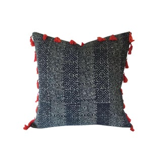 Boho Tassel Fringed Indigo Hmong Pillow Cover