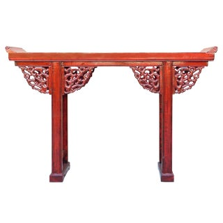 Chinese Red Lacquer Dragon Motif Apron Altar Console Table cs1976