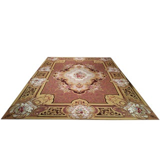 Needlepoint Handmade Knotted Rug - 10′ × 14′