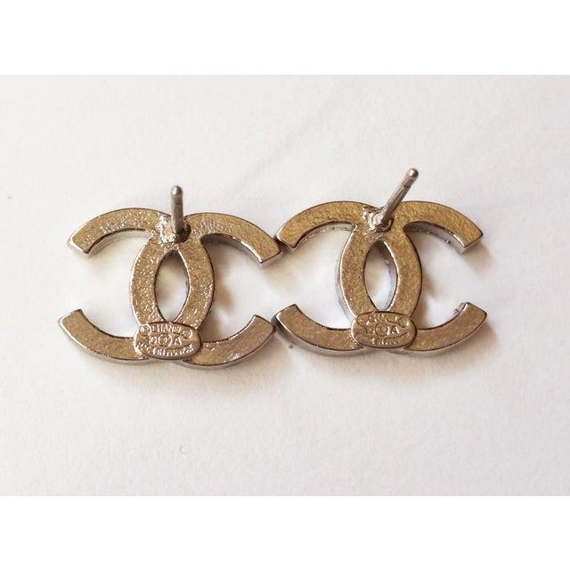 Image of Chanel Silver CC Rhinestone Pierced Earring