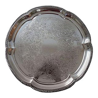 Sheffield Silver Plate Engraved Serving Tray