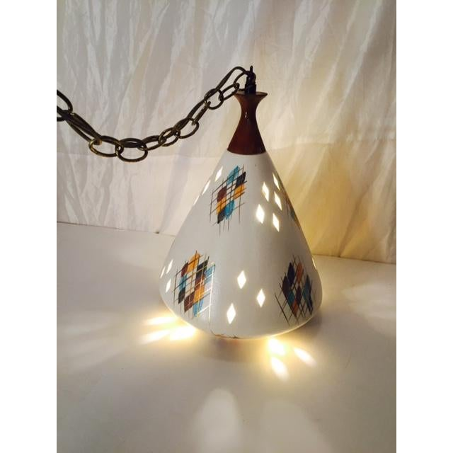 Mid-Century Modern Ceramic & Wood Swag Light - Image 3 of 6