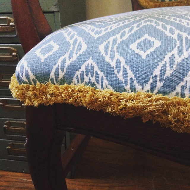 Turquoise Ikat Accent Chair - Image 4 of 4