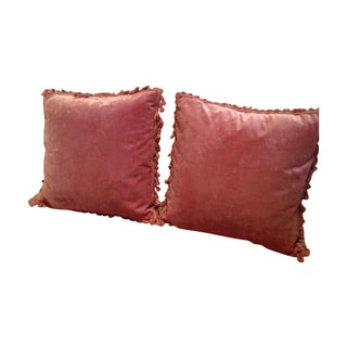 Custom Pink Antique Velvet Pillows - A Pair