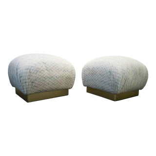 Karl Springer Style Brass Base Souffle Ottomans Poufs - A Pair