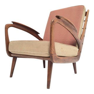 Stunning Dutch De Ster 1950s Organic Carved Walnut Stained Birch Lounge Chair