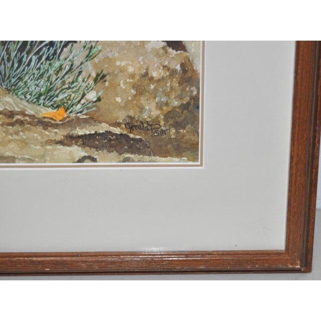 Gerald Petitt California Quail & Poppies Watercolor c.1970s - Image 9 of 11