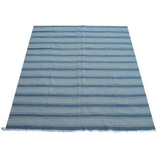 Striped Blue Kilim Rug - 9′ × 12′