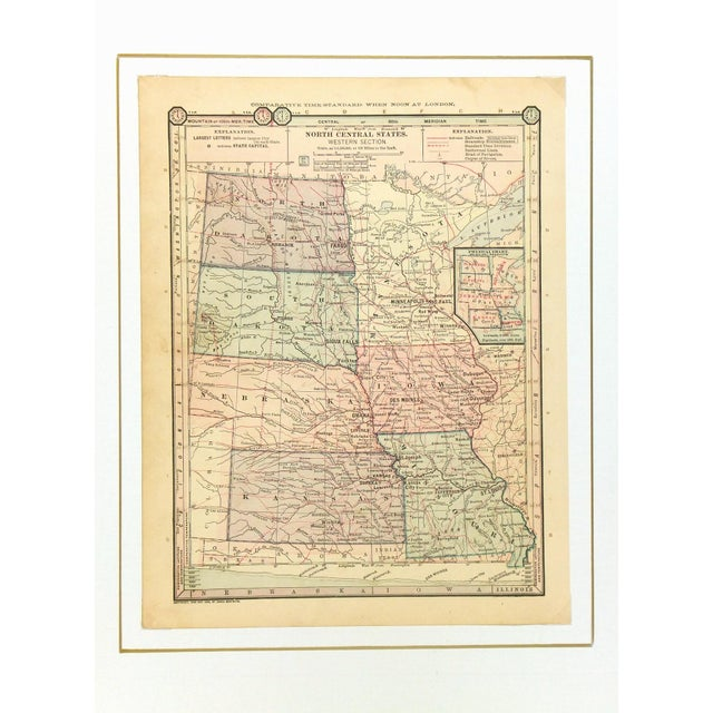 Antique 1889 Map of North Central United States - Image 3 of 4