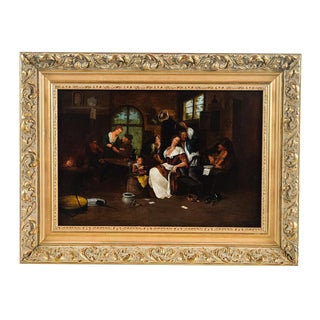 Dutch Interior Scene - 19th Century Oil Painting