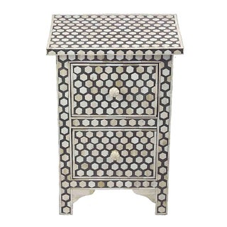 Black and White Bone Inlay 2-Drawer Nightstand