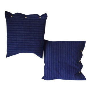 Vintage Japanese Bone Button Indigo Pillow - a Pair