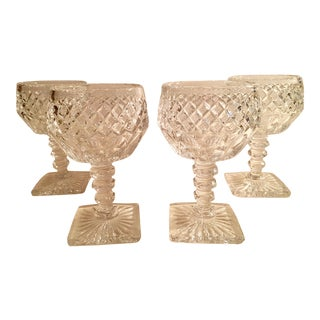 Vintage Crystal Wine Glasses - Set of 4