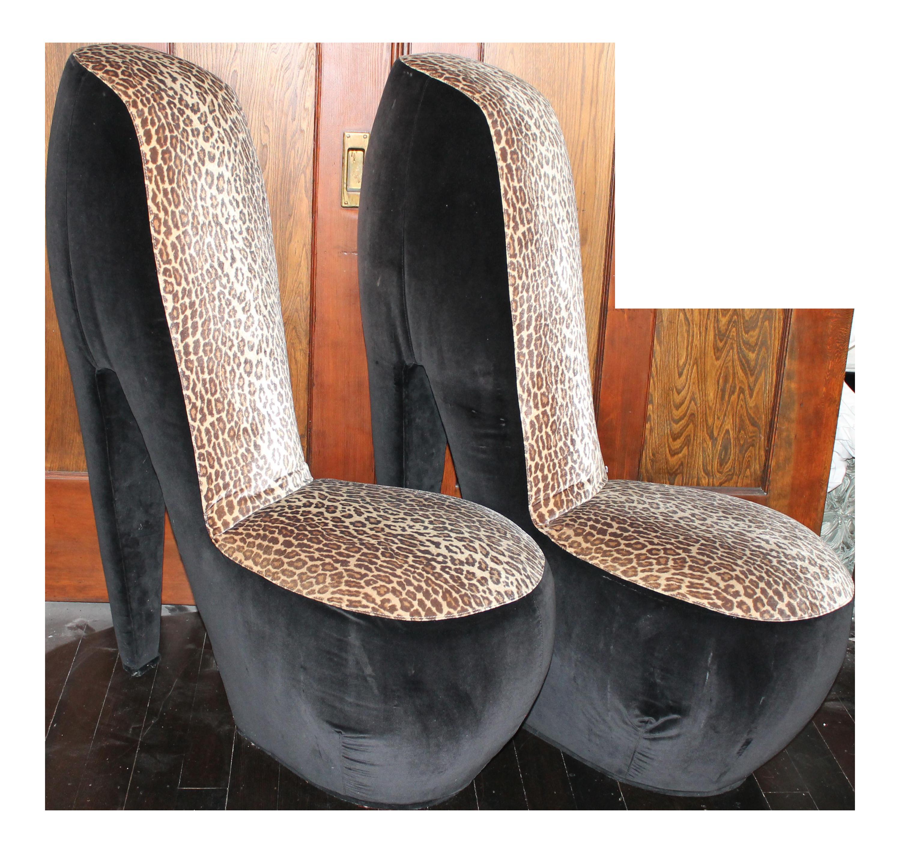 Leopard Print High Heel Shoe Chairs   A Pair