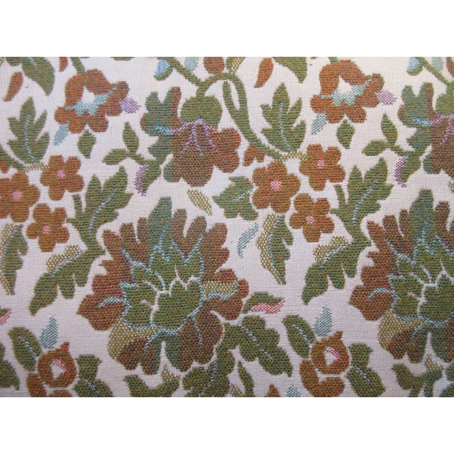 Antique Green & Orange Floral Wing Chair - Image 7 of 8