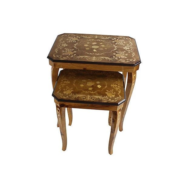 Italian Marquetry Nesting Tables - Set of 2 - Image 1 of 6