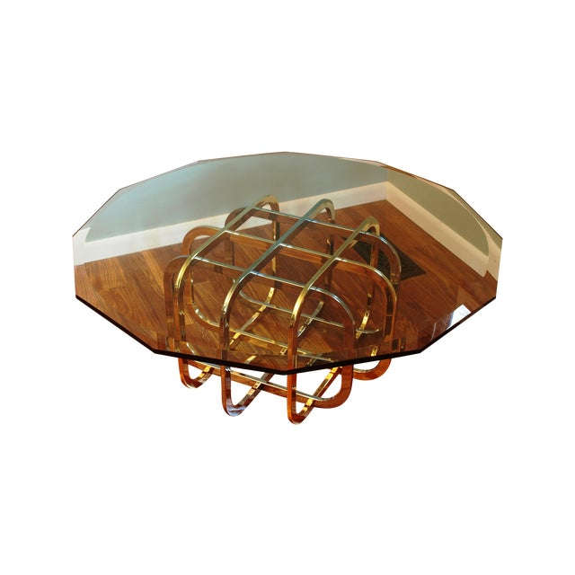Vintage Chrome & Brass Glass Top Coffee Table - Image 1 of 8