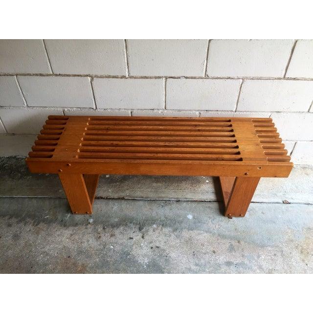 Vintage Oak Slatted Bench - Image 5 of 6
