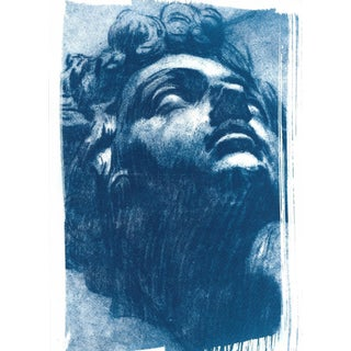 Tintoretto, Head of Giuliano de Medici Drawing, Cyanotype Print on Watercolor Paper