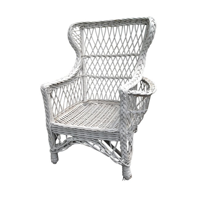 Image of 1920s Bar Harbor Wicker Wing Chair