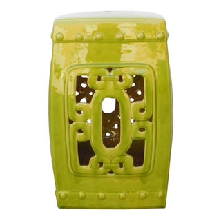 Lime Green Chinese Oriental Square Ceramic Stool
