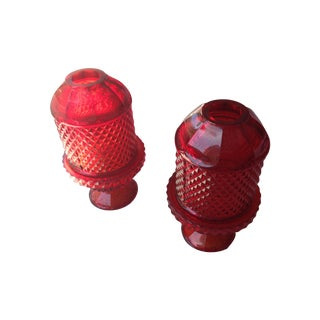 Vintage Viking Ruby Red Glass Candleholder - Pair