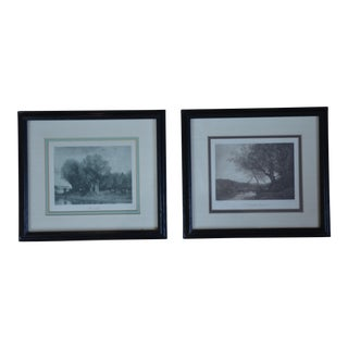 Framed Jean-Baptiste-Camille Corot Prints - A Pair