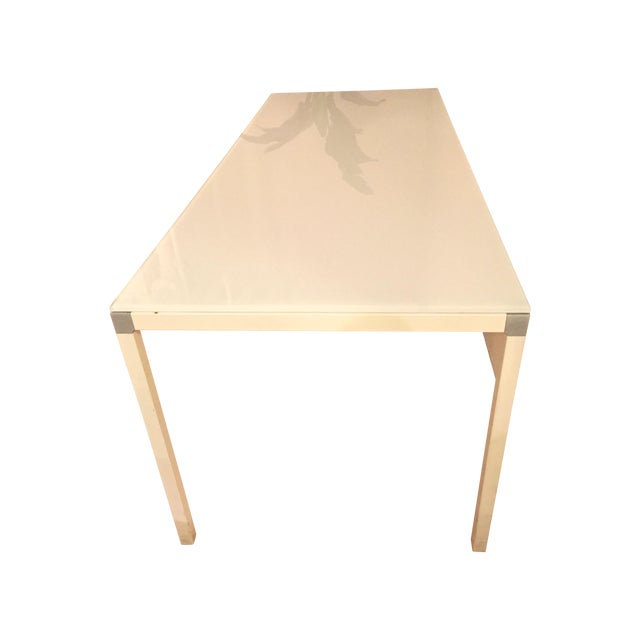 Image of Minimal Modern White Glass Top Table