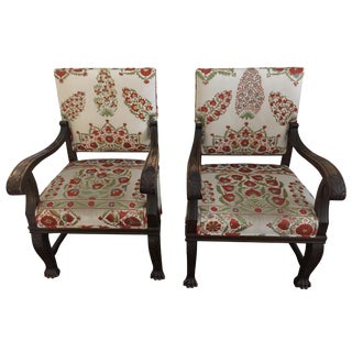Suzani Upholstered Armchairs - A Pair