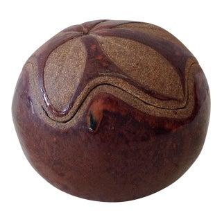Round Brown Glazed Pottery Leaf Printed Jar or Box