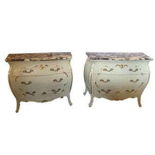 Paint Decorated Marble Top Chests - Pair