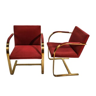 1960s Vintage Brass Mies Van Der Rohe Knoll Brno Chairs Pair