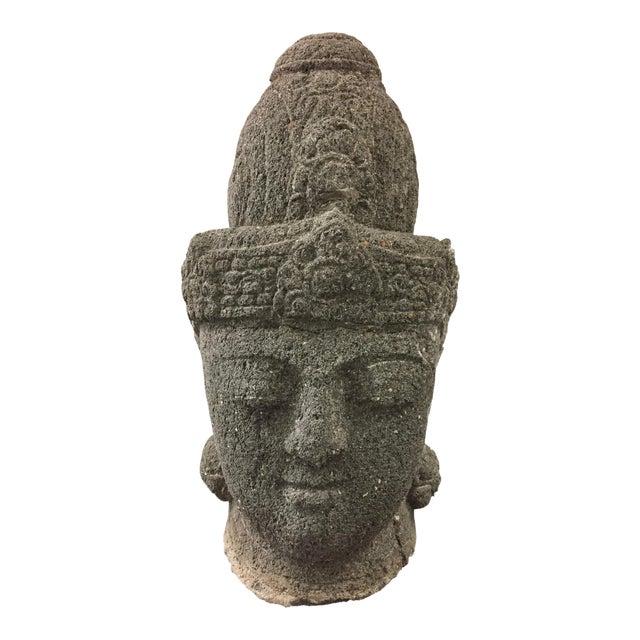 Carved stone buddha head chairish