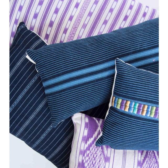 Vintage Striped Ikat Indigo Pillow - Image 6 of 8
