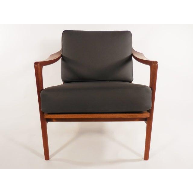 Image of Mid-Century Danish Teak Gray Lounge Chair