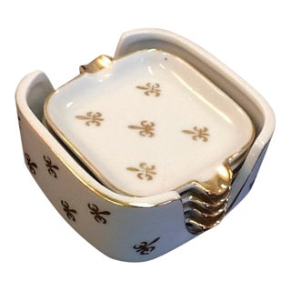 Fleur-De-Lis Lefton China Sauce Dipping Set
