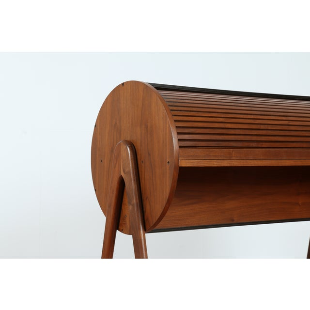 Image of Walnut Barrel Shaped Roll Top Desk