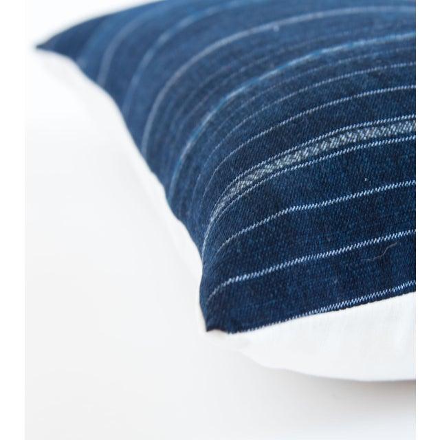 Vintage Striped Ikat Indigo Pillow - Image 5 of 8