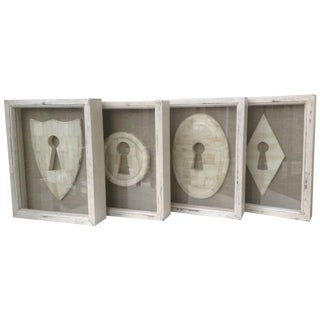 Framed Bone Keyhole Plaque Shadow Boxes - Set of 4