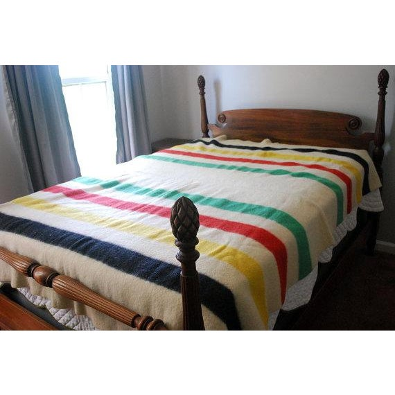 1940s Striped Wool Camp Blanket - Image 4 of 7