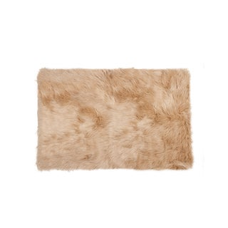 Hudson Tan Faux Sheepskin Rug - 2′3″ × 3′