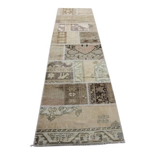 Turkish Vintage Overdyed Patchwork Oushak Rug - 2′7″ × 10′2″
