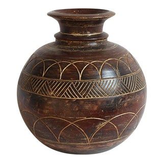 Carved Wood Oil Pot
