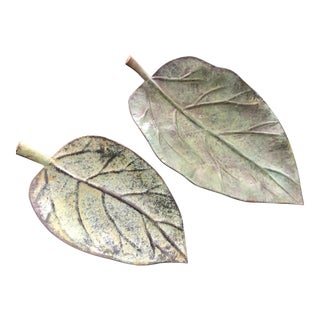Tole Banana Leaf Shaped Centerpieces - A Pair