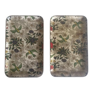 1940'S Japanese Gilded Floral Lacquer Trays - Set of 2
