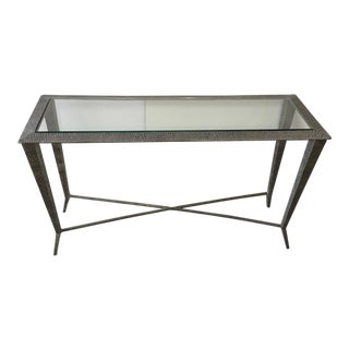 Contemporary Molded Aluminum and Glass Console Table