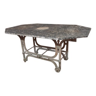 FRENCH ART DECO MARBLE TOP IRON TABLE