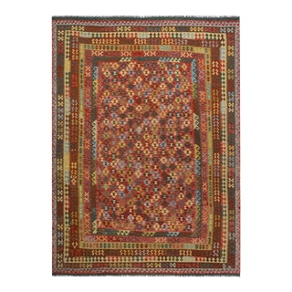 "Kilim Arya Jc Red & Brown Wool Rug - 9'10"" x 13'0"""